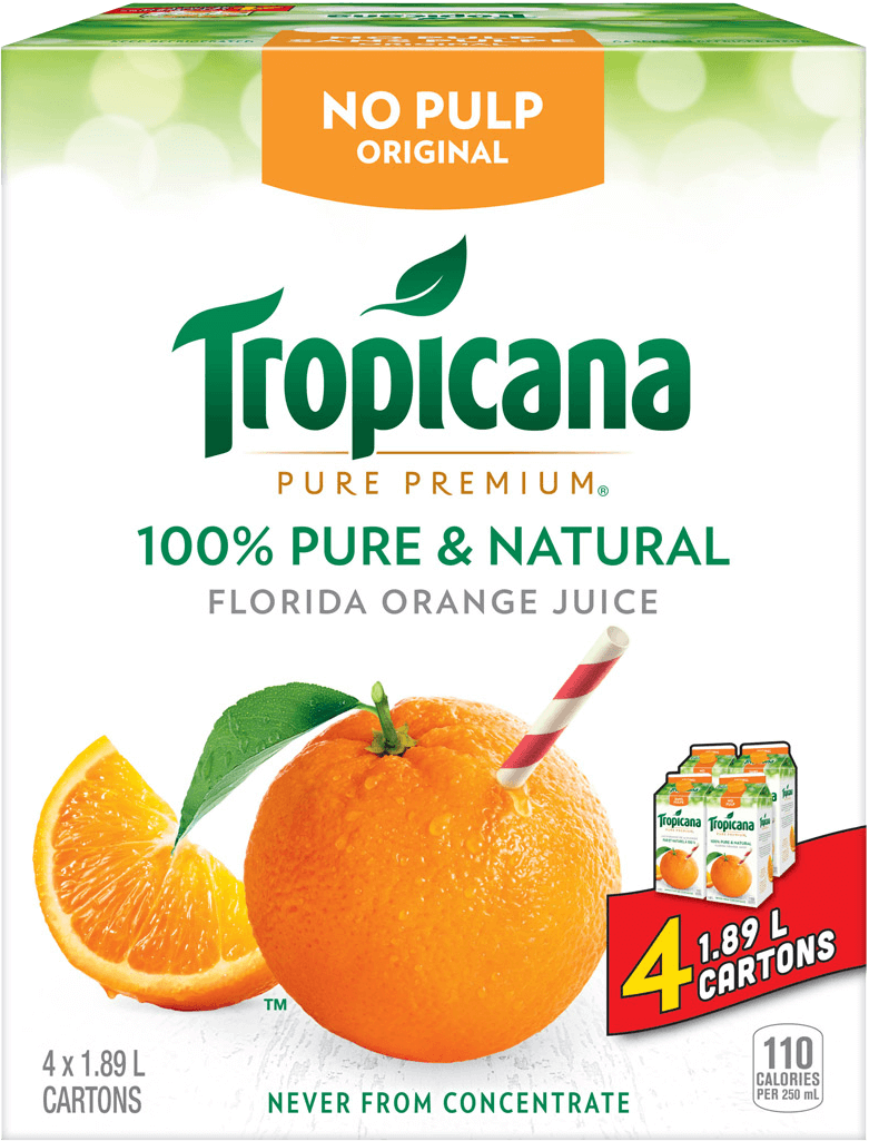 Tropicana 100 % Pure Orange Juice - No Pulp CLUB