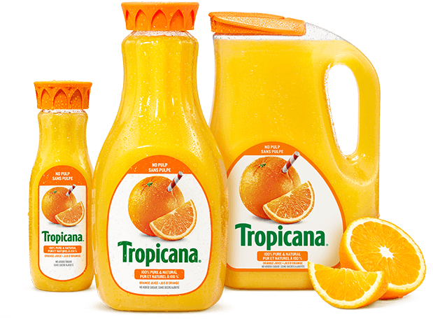 Oranges cut by half with Tropicana's logo